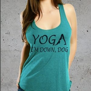 Yoga I'm Down Dog American Apparel Racerback Tank